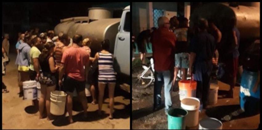 Crisis con el suministro de agua potable, obliga a vecinos del reparto Sevillano en La Habana a amotinarse con cubos alrededor de una pipa