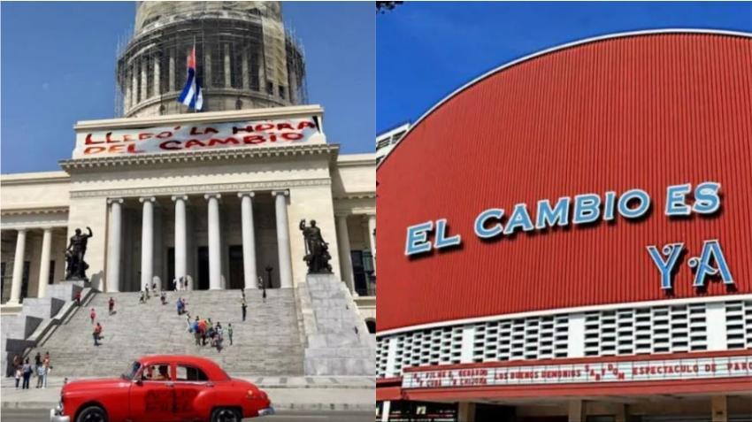 El cine Yara y el Capitolio en Google Maps muestran mensajes en contra del régimen en Cuba