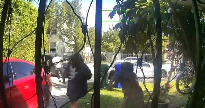 Capturado en cámara un hombre intenta arrebatar la cadena de una mujer afuera de su casa en un vecindario de Miami