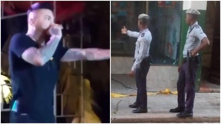 """Reguetonero cubano El Chacal pide un aplauso para la """"Policía Nacional Revolucionaria"""" durante un concierto en Cuba"""