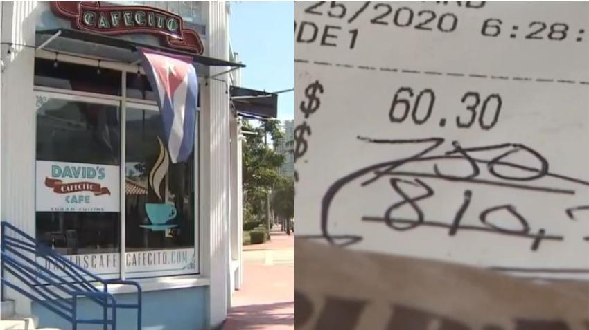 Camarera de restaurante cubano en Miami Beach recibe una propina de $750 dólares