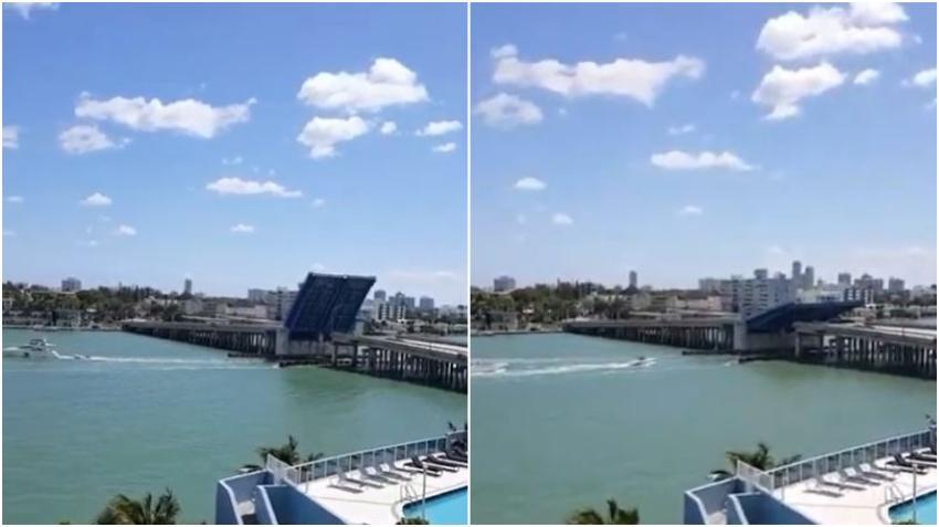 Puente levadizo de la 79 calle a North Bay Village en Miami queda atascado en posición vertical