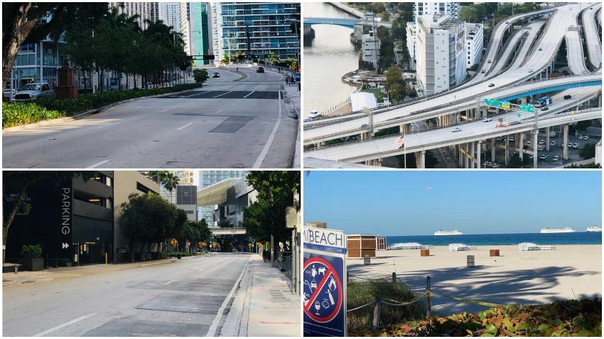 """La pandemia del coronavirus ha dejado las calles de Miami prácticamente vacías a pesar de que algunos no respetan la orden de """"Quedarse en Casa"""""""