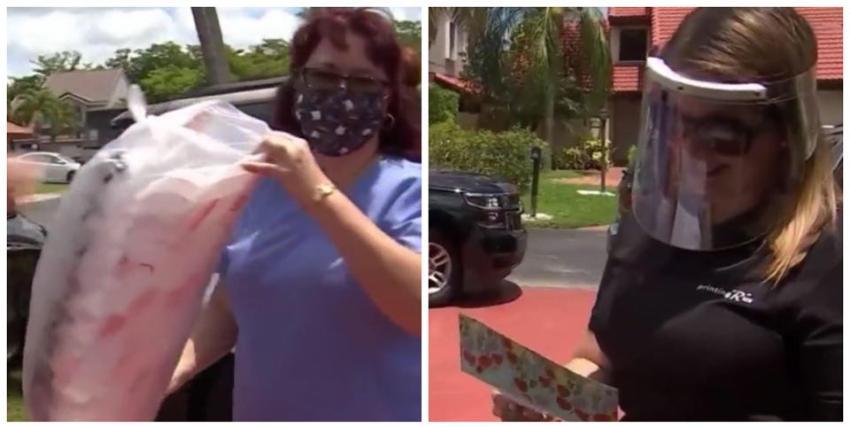 Personal sanitario del Kendall Regional Hospital recibe donación de máscaras para protegerse del Covid-19