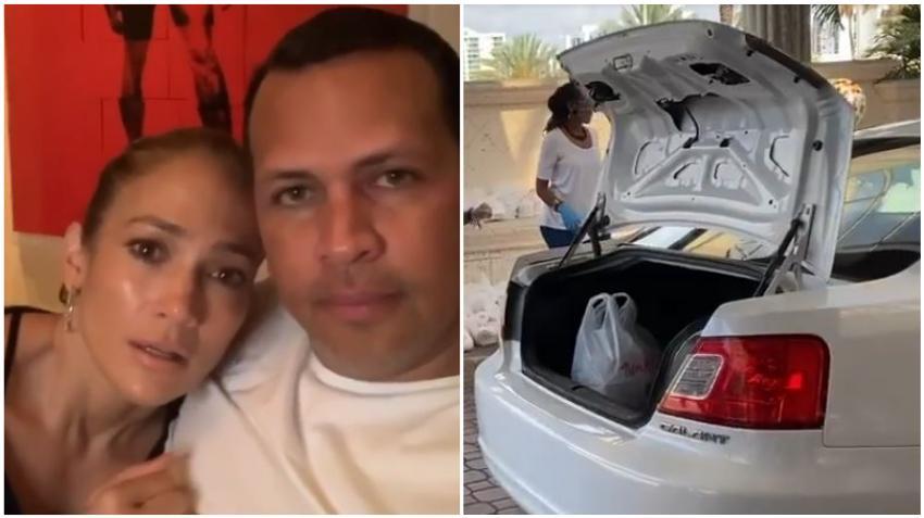 Jennifer López y Alex Rodriguez reparten comida a 20 mil empleados de hotel que han perdido el trabajo en Miami