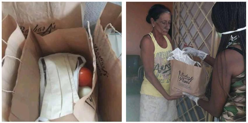 Trabajadoras por cuenta propia en La Habana entregan ayudas a ancianos y a personas necesitadas, en medio de la pandemia
