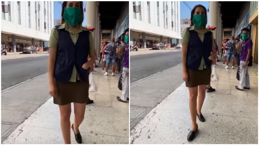 Agente del MININT amenaza a youtuber cubano por grabar una cola en La Habana