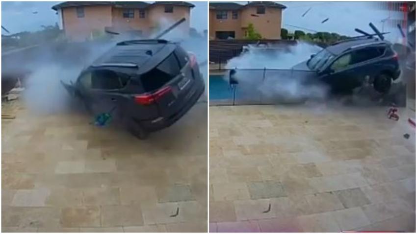 Cámara de seguridad capta momento en que auto arremete contra el patio trasero de una vivienda en Miami