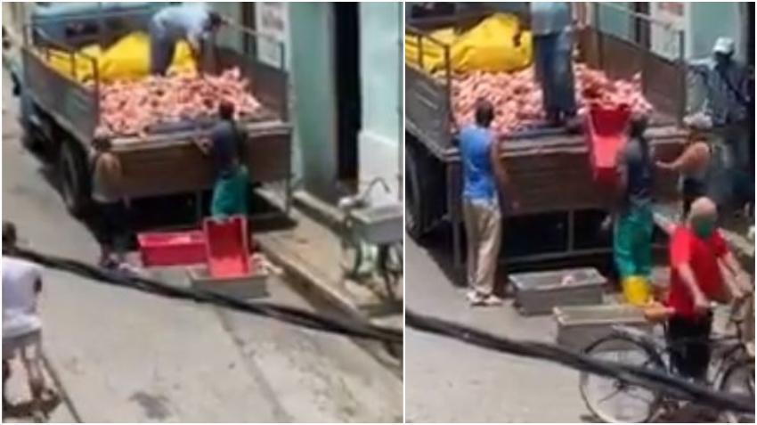 """Indignación en redes sociales por la forma en que manipulan los """"huesos"""" que le dan como alimento a los cubanos en Cuba"""