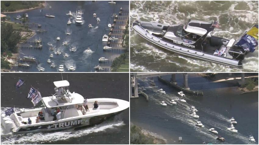 Cientos de navegantes  muestran su apoyo a Trump con desfile de botes detrás de su casa en West Palm Beach