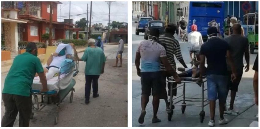 Penosas imágenes de Cuba: Enfermos transportados en camillas por las calles ante la falta de ambulancias
