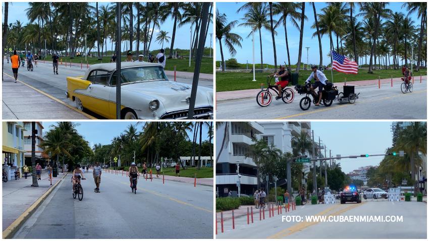 Residentes disfrutan de Ocean Drive en Miami Beach convertida en una avenida solo para peatones y ciclistas