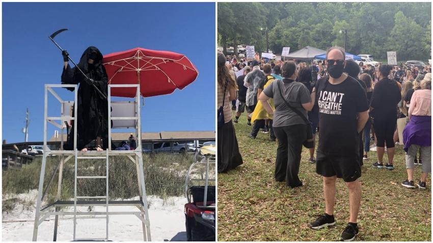 Abogado de Florida que se vistió como la muerte para protestar la reapertura de las playas participó en las protestas masivas por la muerte de George Floyd