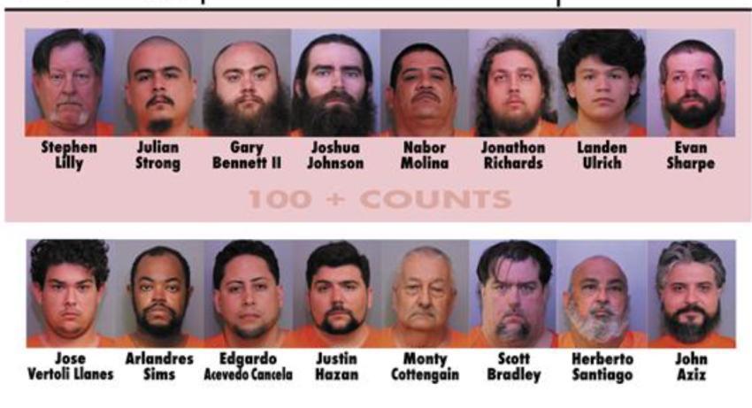 Presentan más de 1400 cargos contra 16 personas de la Florida por descargar material explícito de menores de edad