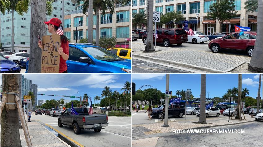 Cubanos en Miami salen en caravana en apoyo a la policía y al presidente Trump