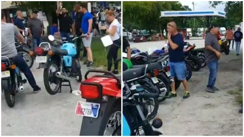 Grupo de cubanos nostálgicos se reúnen en gasolinera de Miami con motos MZ
