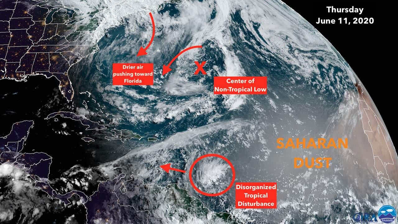 Perturbación tropical se dirige al sur de las islas del Caribe