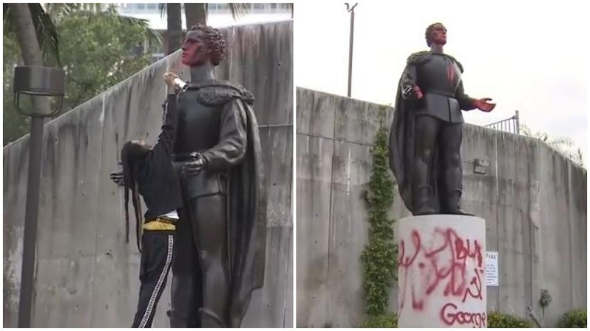 Vandalizan la estatua de Cristóbal Colón en Bayfront Park en Miami