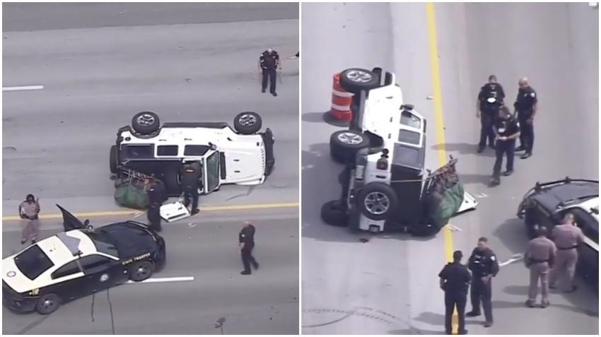 Persecución policial culmina con un vehículo volcado en la I-95 y un arrestado