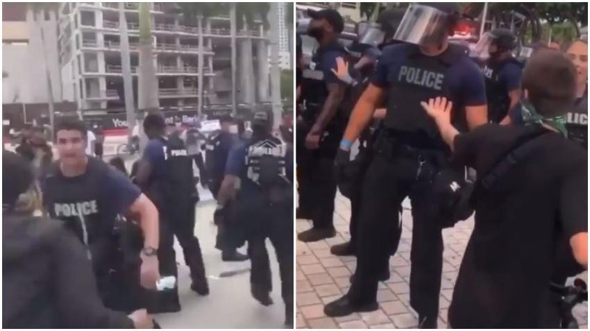 Tenso enfrentamiento en el Bayfront Park entre la policía de Miami y manifestantes