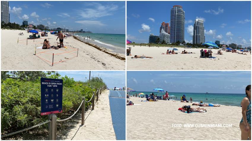 Transcurre con normalidad y sin problemas el primer día de reapertura de las playas en Miami