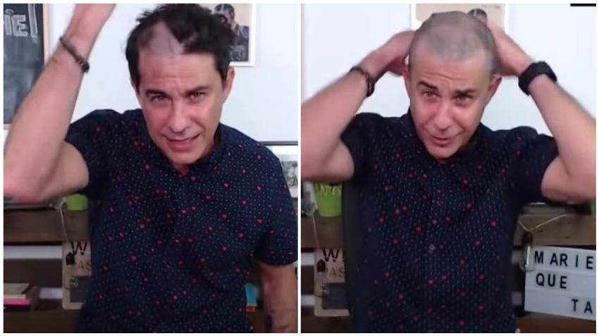 Actor cubano Roberto San Martín se rapa la cabeza en vivo en apoyo a los hermanos Urquiola