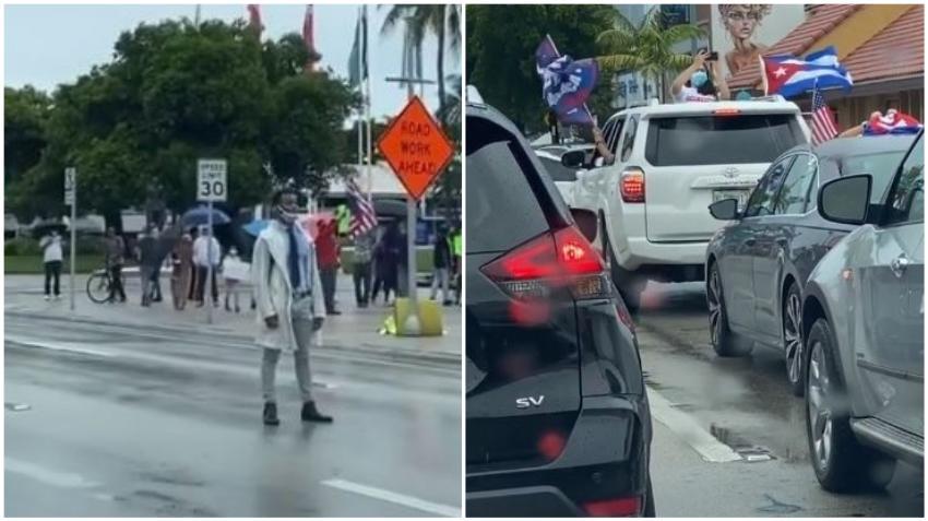 Presentan cargos contra manifestante de Black Live Matters que arrebató una bandera de un auto de la caravana de cubanos en Miami