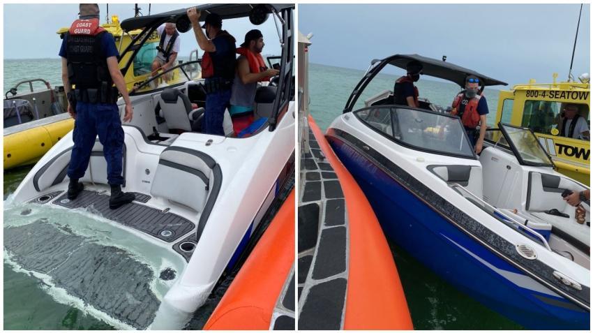 Guardia Costera rescata a 5 personas de un bote en Key Biscayne