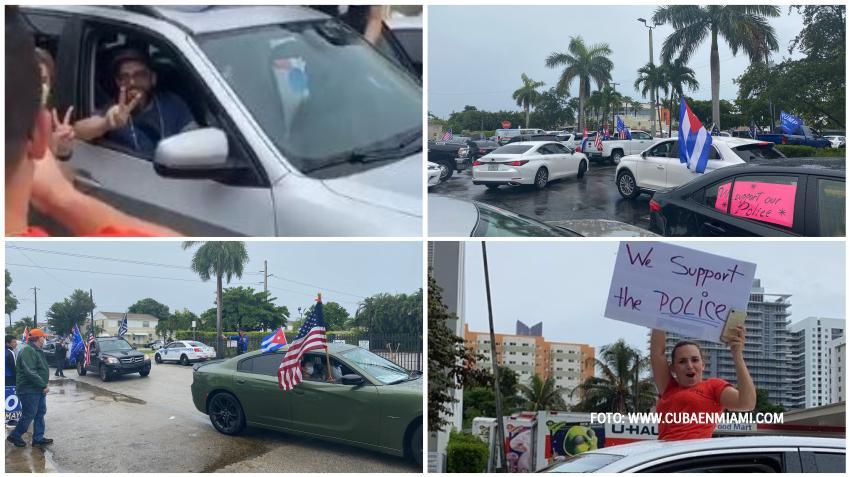 Asistencia masiva a caravana de cubanos en Miami para apoyar a la policía de la ciudad