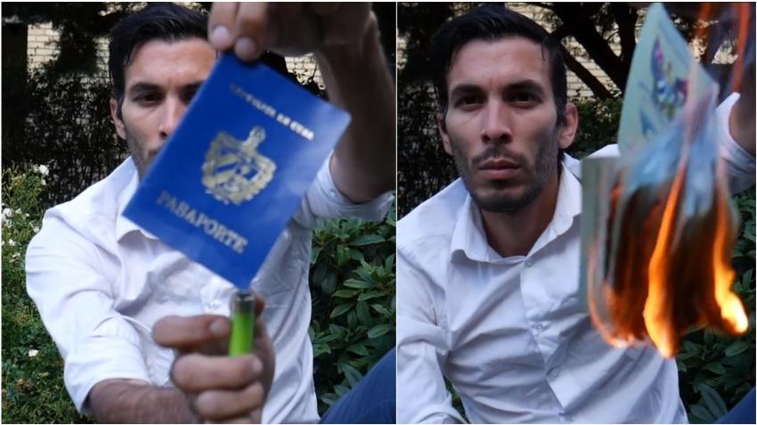 Cubano cansado del abuso le prende fuego al pasaporte