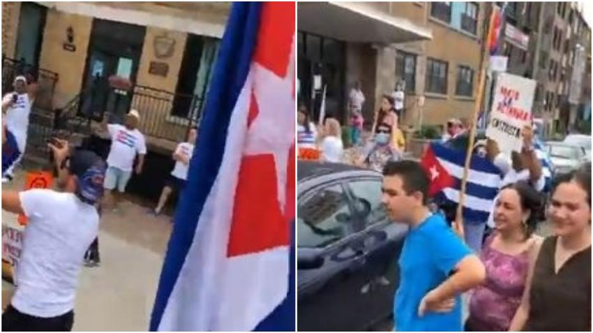 Cubanos protestan frente al  Consulado de Cuba en Montreal, Canadá