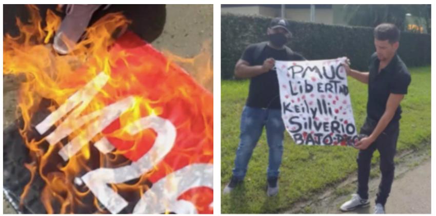 Cubanos queman la bandera del 26 de julio frente al Consulado del régimen en Surinam