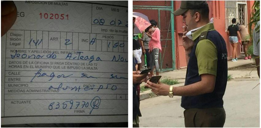 Multan a un cubano en una cola por retirarse el nasobuco y apartarse para fumar, minutos después ve a un oficial hacer lo mismo