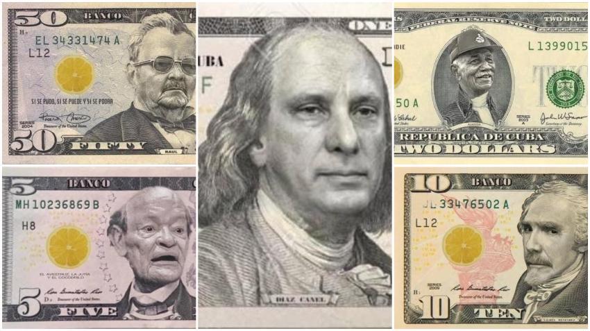 Cubanos crean dólares con las imágenes de los líderes de la dictadura para burlarse de las nuevas medidas