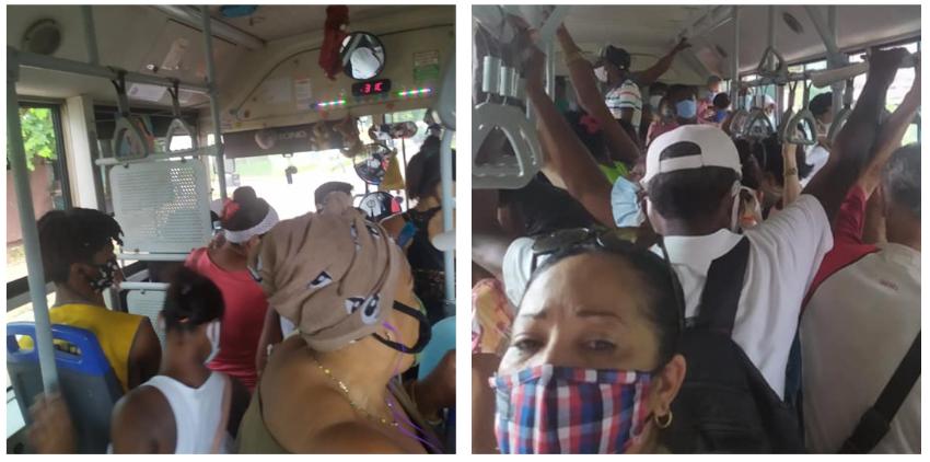 Una guagua abarrotada de personas en La Habana en los primeros día de desescalada por la pandemia