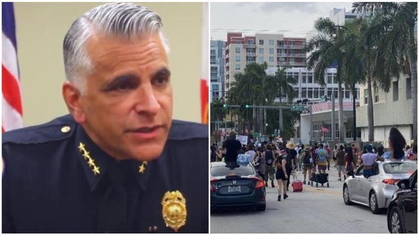 """Jefe de la policía de Miami reacciona y se queja: """"Los negocios tienen restricciones... Pero de alguna manera, está bien reunir a 200, 300 personas hombro con hombro, interrumpiendo la ciudad"""""""