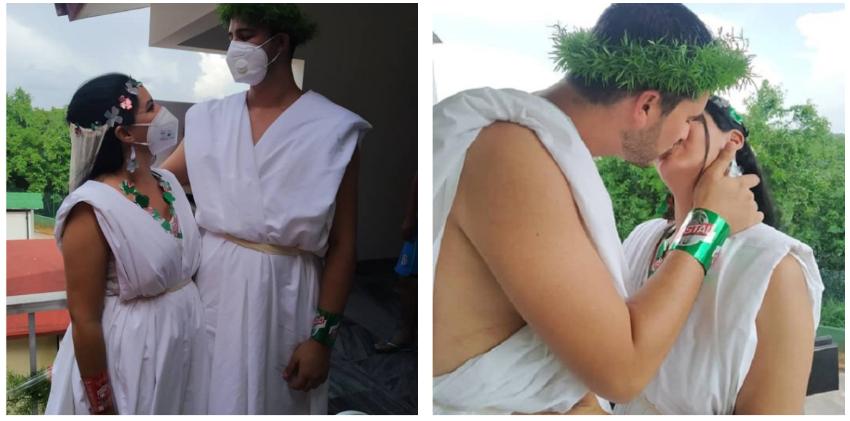 Una pareja de médicos cubanos sella su amor en un centro de aislamiento en Matanzas