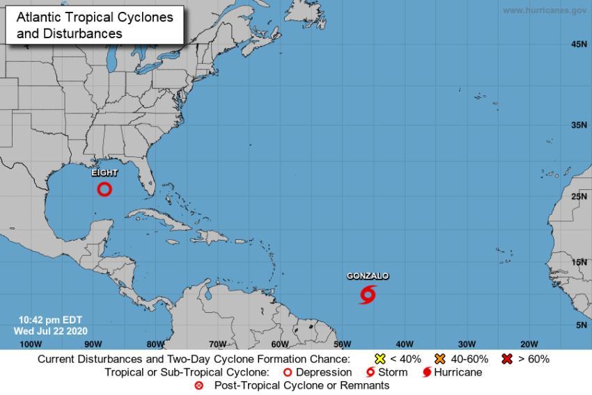 Se forma en el Golfo de México la depresión tropical número 8