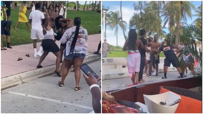 Pelea tumultuaria en Ocean Drive en Miami Beach; se olvidaron de la distancia social y las máscaras