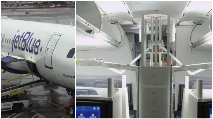 Aerolínea JetBlue utiliza robots con tecnología de luces ultravioletas para desinfectar sus aviones del Covid-19