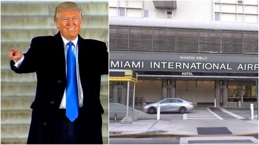 El presidente Trump arriba al Aeropuerto Internacional de Miami