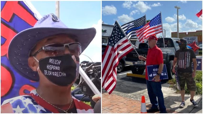 Cubanos a favor de Trump en Hialeah salen a la calle a darle su apoyo