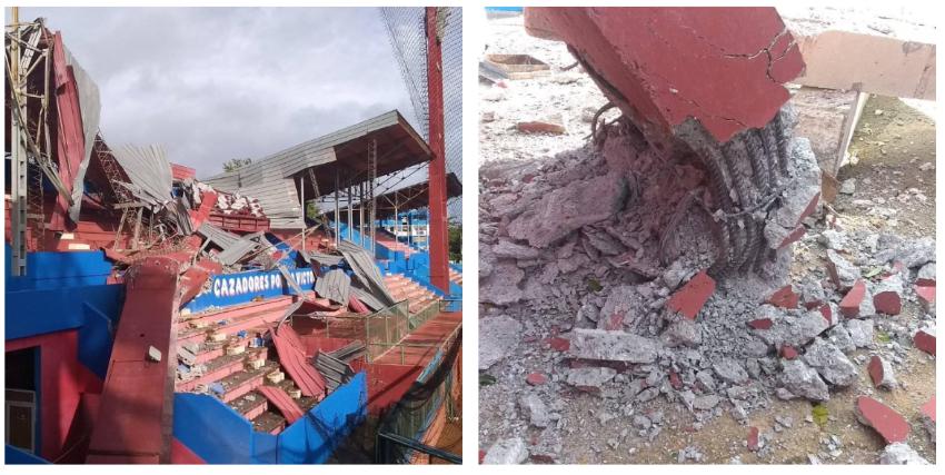 Cayó una torre de iluminación del Estadio 26 de julio en la provincia Artemisa, como parte de los daños causados por la tormenta tropical Laura