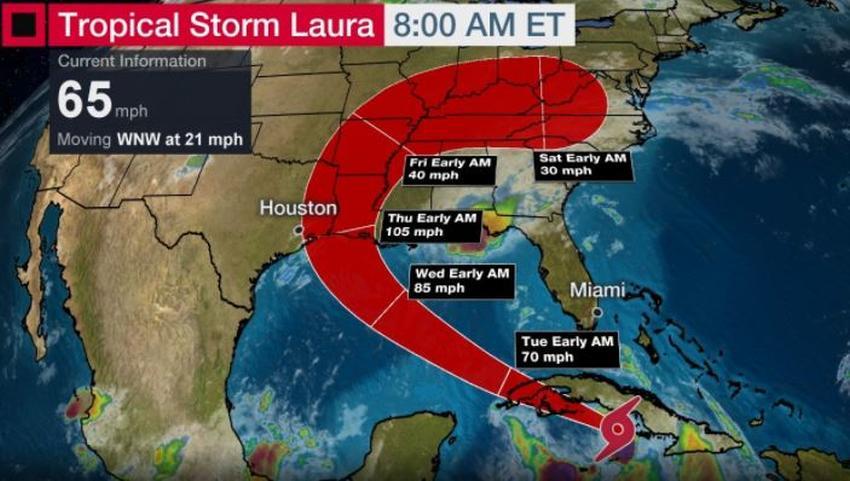 Tormenta tropical Laura se convertirá en huracán a su salida del territorio cubano; según pronósticos