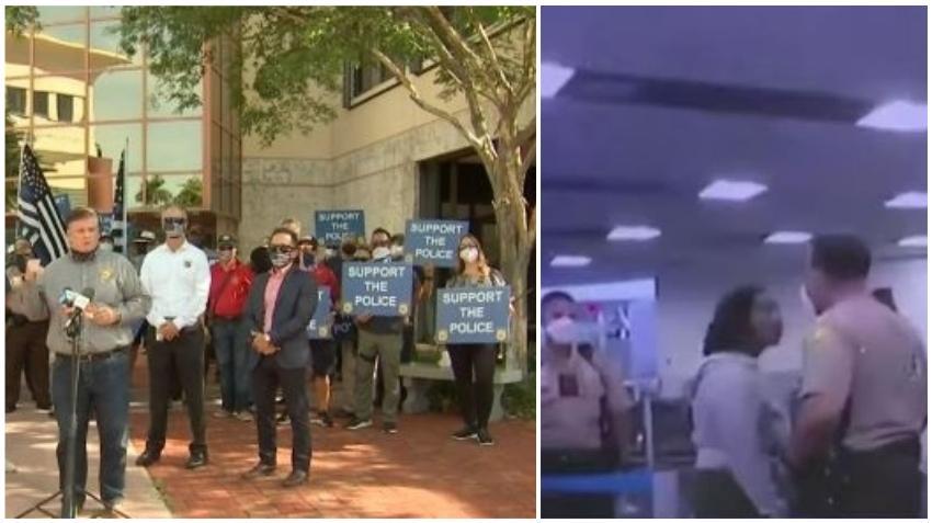 Manifestantes se reúnen frente la sede de policía de Miami Dade para mostrar apoyo por oficial suspendido