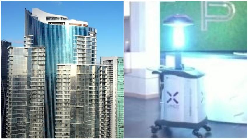 Edificio de lujo Paramount Miami Worldcenter instala robot con luces UVC para matar el coronavirus