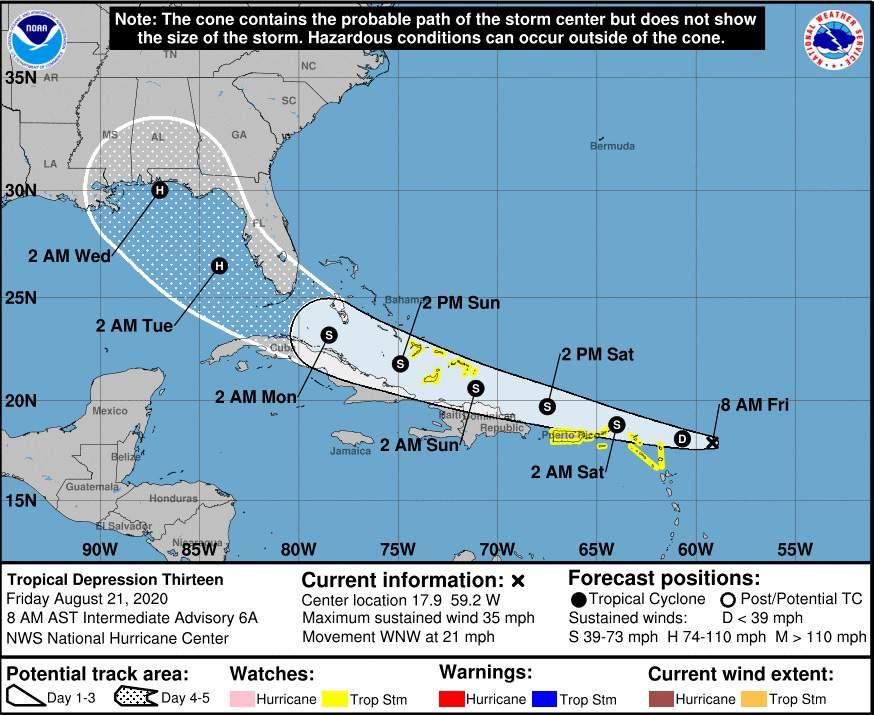 Depresión tropical se convierte en la Tormenta Tropical Laura; Cuba y Florida en el cono de trayectoria