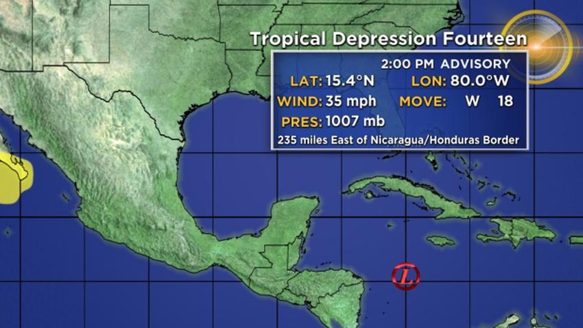 Se forma la depresión tropical número 14 en el Mar Caribe