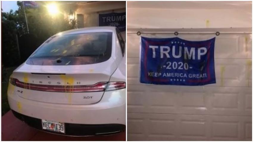 Vandalizan viviendas en Miami Dade por ondear banderas en apoyo al presidente Trump