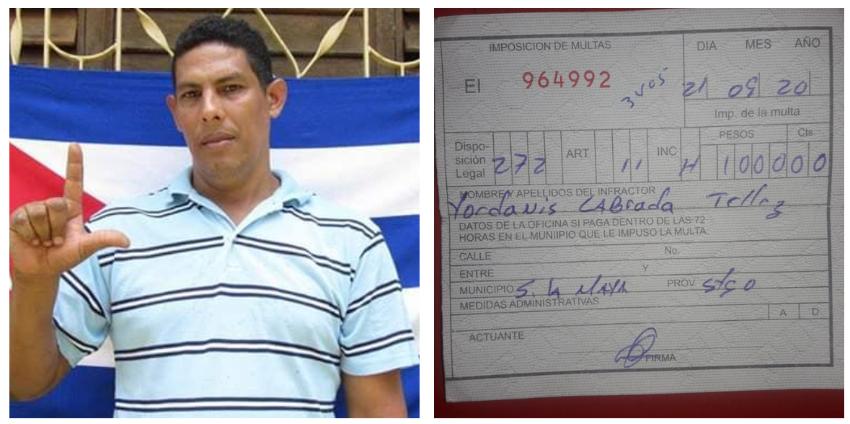 Multan con 1.000 pesos a un cubano por tener una foto de José Daniel Ferrer en la puerta de su casa